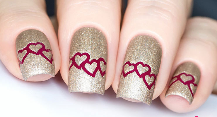 Heart Chain Nail Stencil. Valentine's DayHappy. Valentine's Day Nail Art - 10 Valentine's Day Nail Art Designs That Are Easy And Fun To Do!